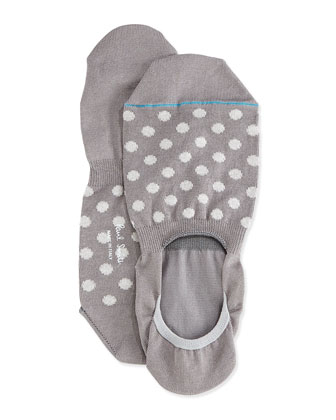 Polka-Dot Loafer Socks, Gray