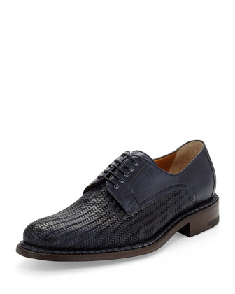 Black Label Leather Derby Oxford, Navy