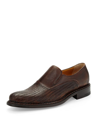 Woven Leather Slip-On Loafer, Brown