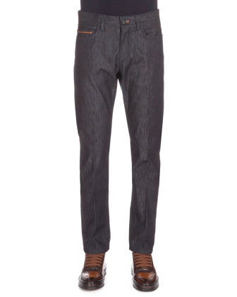 Stretch Denim Jeans with Leather Detail, Indigo