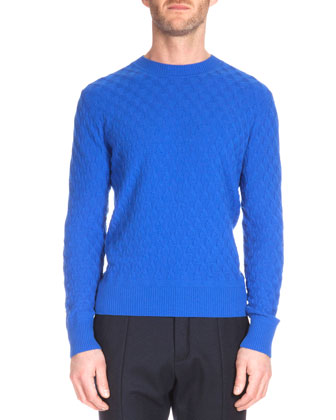 Textured Crewneck Cashmere Sweater, Metallic Blue