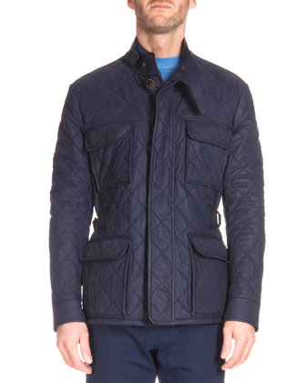 Quilted Suede Field Jacket, Navy