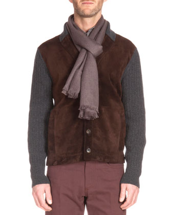 Ribbed Cardigan with Suede Front, Herringbone Woven Scarf, ...