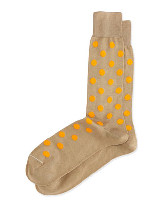 Bright Spot Large-Dot Pattern Socks, Beige