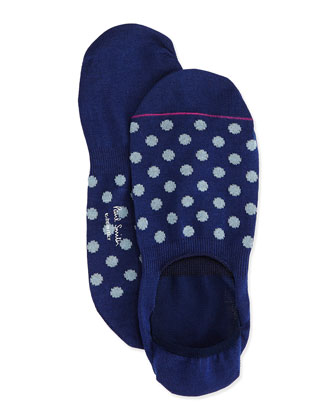 Polka-Dot Loafer Socks, Navy