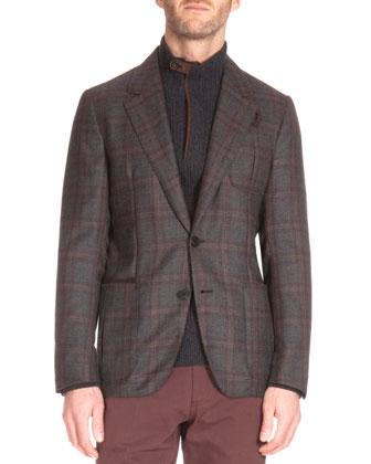Plaid Two-Button Cashmere Jacket, Suede-Trim Quarter-Zip Cashmere Pullover ...