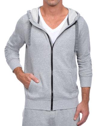 Terry Zip-Up Hoodie Jacket, Light Gray