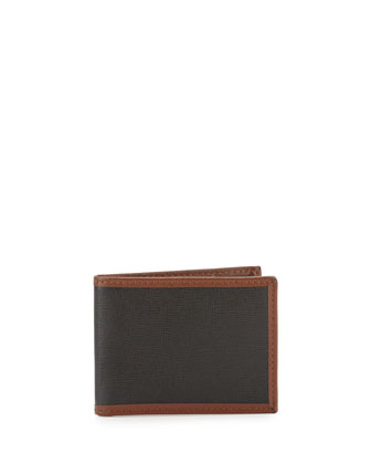 Saffiano Leather Slim Wallet, Black/Brown