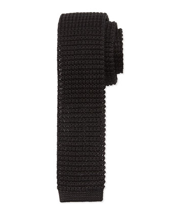 Knit Silk Tie, Black