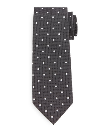 Polka Dot-Print Silk Tie, Black