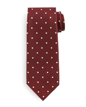 Polka Dot-Print Silk Tie, Red