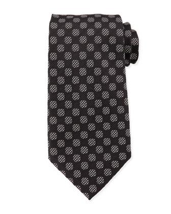 Textured-Dot Woven Tie, Black