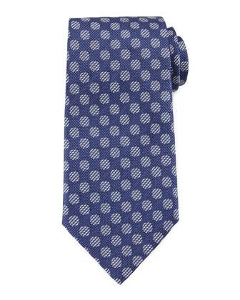 Textured-Dot Woven Tie, Blue