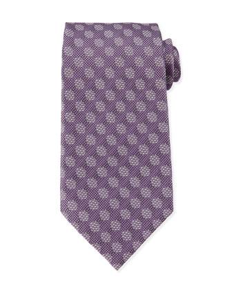 Textured-Dot Woven Tie, Purple