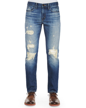 Tyler Deconstructed Ripped Denim Jeans, Indigo
