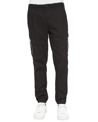 Aviator Stretch-Knit Flight Pants, Black