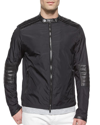 Nylon Moto Jacket with Leather Trim, Slub-Knit Henley Tee & Tailored-Fit ...