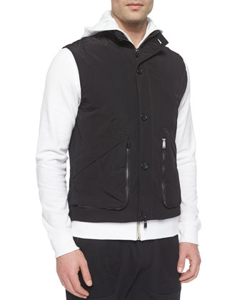 Suede Poplin Vest, Black