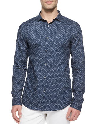 Tuckstitched V-Neck Sweater, Diamond-Print Slim-Fit Shirt & Tailored-Fit Jeans