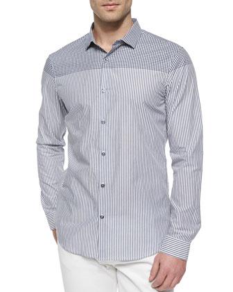 Check & Mini-Striped Long-Sleeve Shirt, Navy