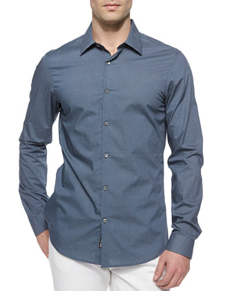 Slim-Fit Printed Sport Shirt, Blue