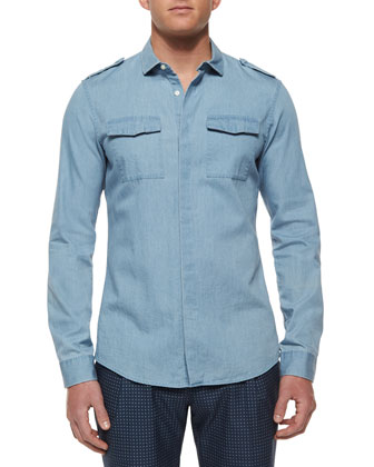 Woven Chambray Chest-Pocket Shirt, Blue