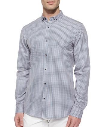 Slim-Fit Check Patterned Shirt, Orange/Blue