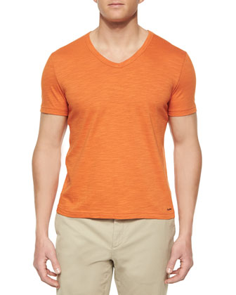 Slub-Knit V-Neck Tee, Orange