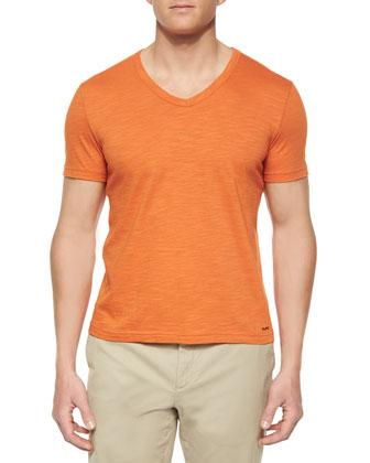 Slub-Knit V-Neck Tee, Orange