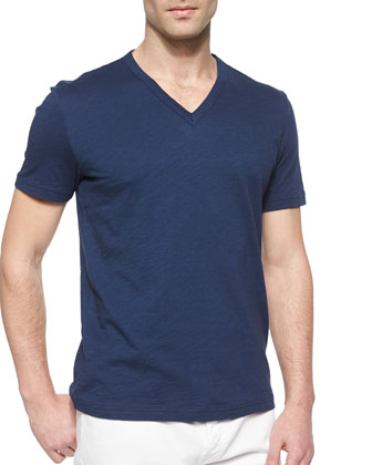 Slub Knit V-Neck Tee, Blue