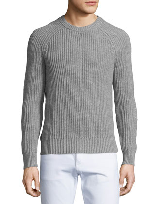 Shaker Raglan Crewneck Sweater, Gray