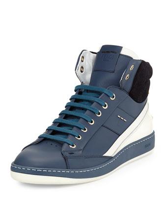 Wimbledon Leather High-Top Sneaker, Blue