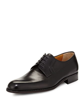 Calf Leather Lace-Up Derby, Nero