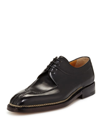 Raised-Stitch Lace-Up Derby, Nero