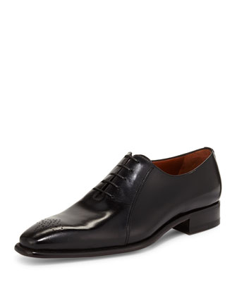 Perforated Leather Lace-Up Oxford, Nero