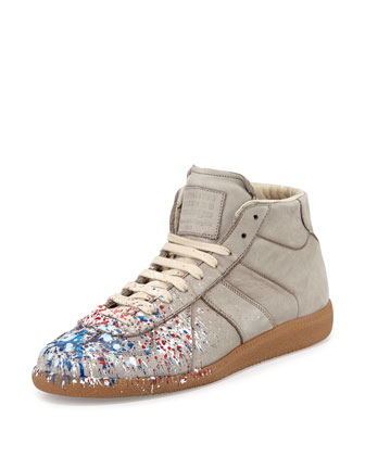 Replica Paint-Splatter High-Top Sneaker, Gray