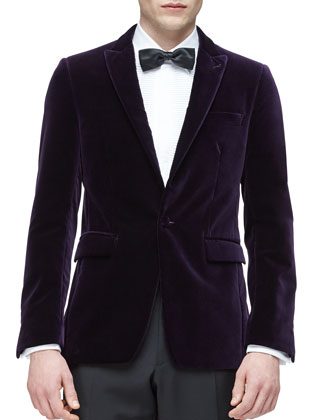 Peak Lapel Velvet Evening Jacket, Purple