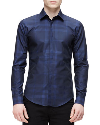 Tonal Check Long-Sleeve Shirt, Navy