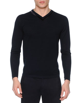 Velvet-Trimmed Pique Sweater, Navy