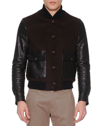 Wool/Leather Button-Down Jacket, Brown