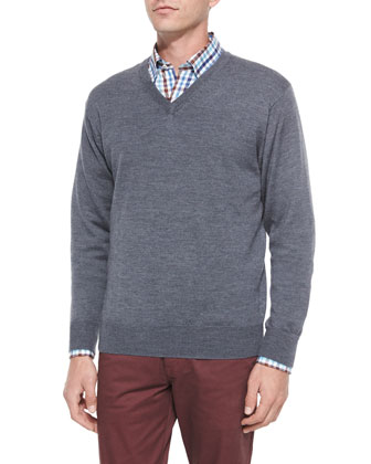 Merino Wool V-Neck Sweater, Melange Plaid Long-Sleeve Sport Shirt & ...