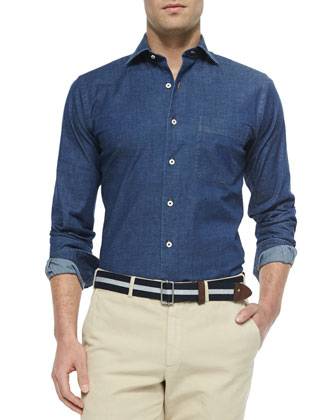 Washed Button-Down Denim Shirt, Blue