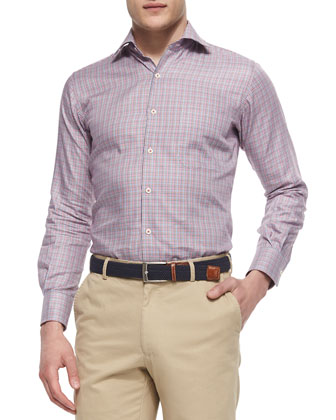 Multi-Houndstooth Woven Sport Shirt, Pink