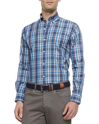 Textured Quarter-Zip Pullover Sweater, Plaid Long-Sleeve Sport Shirt & ...