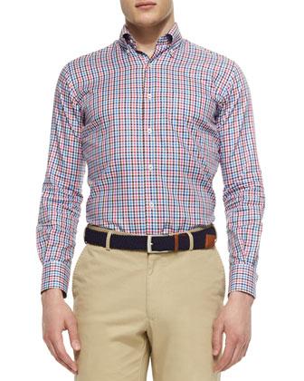 Textured Quarter-Zip Pullover, Gingham Tattersall Woven Sport Shirt & ...