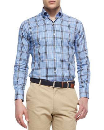 Oxford Multi-Plaid Sport Shirt, Blue