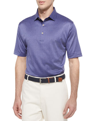 Mitch Herringbone Lisle-Knit Polo Shirt, Patriot Navy