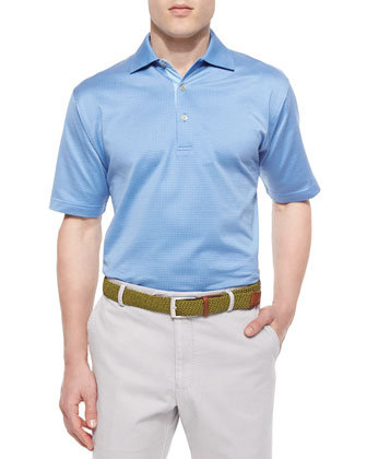 Jacquard Lisle-Knit Cotton Polo Shirt, Blue