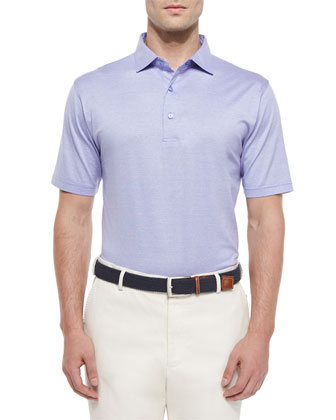 Rodeo Stripe Lisle Polo Shirt, Purple