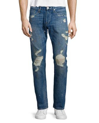 M3 Allman Slim Distressed Jeans, Dark Gray